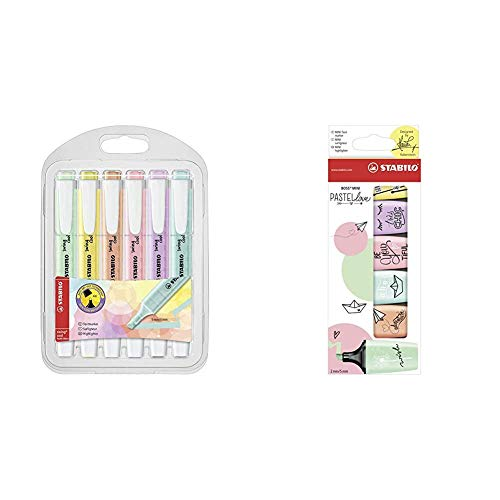 Stabilo Swing Cool Pastel - Astuccio con 6 Evidenziatori Colori Assortiti & BOSS MINI Pastellove Evidenziatore colori assortiti - Confezione da 6