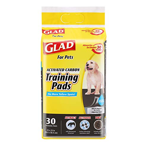 Glad for Pets Black Charcoal Puppy Pads | Puppy Potty Training Pads That ABSORB & NEUTRALIZE Urine Instantly | New & Improved Quality Dog Training Pads, 30 count