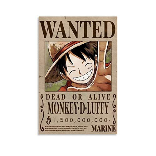 QWSDE One Piece Luffy Bounty Wanted Themen-Serie Anime-Poster Dekorative Malerei Leinwand Wandkunst Wohnzimmer Poster Schlafzimmer Gemälde 30 x 45 cm