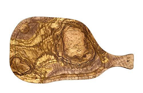 Erreke – Tabla de Cortar, Madera de Olivo, para Servir o Picar, Tabla de Cocina (51x24 cm con Mango y Ranura para Líquidos)