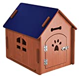 24x7 eMall Dog House Pet Wood Dog Kennel with Gate Indoor and Outdoor House Easy Assembly Ideal for Small and Medium Pets 31 x 27 x 21.5 Inches (Blue)