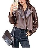Chaqueta de cuero de las mujeres estilo motorista cremallera botón Slim Fit Color sólido manga larga solapa Crop Cardigan Y2K casual Outwear, marrón, XL