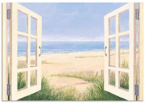 Artland Wandbild Alu für Innen & Outdoor Metall Bild 100x70 cm Fensterblick Fenster Meer Strand Maritim Düne Küste Gräser Aussicht T4JD