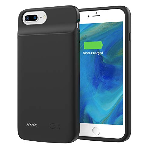 Lonlif Battery Case for iPhone 7 Plus/8 Plus/6 Plus/6s Plus, 5000mAh Portable Rechargeable Charging Case for iPhone 7 Plus/8 Plus/6 Plus/6s Plus (Black)