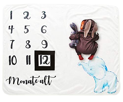 COUXILY Baby Meilenstein Decke Meilensteindecke Baby Monatliche Decke für Neugeborene Baby monatsdecke Milestone Fotografie Requisiten Shoots Hintergrund Tuch Deutsch (Elefant 100 * 120CM)