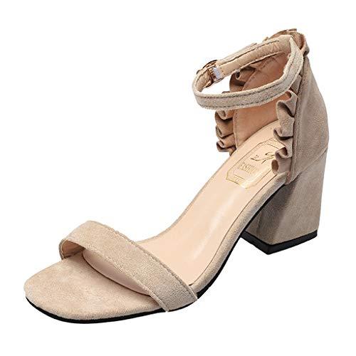 Ankle Strap Heels Damen Sandalen Offene Zehe Chunky High Heels Partykleid Sandalen Zolimx