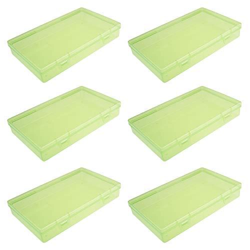 LJY Aufbewahrungsbehälter aus Kunststoff, rechteckig, leer, mit Deckel, für kleine Gegenstände und andere Bastelprojekte, Grün, 6 Stück