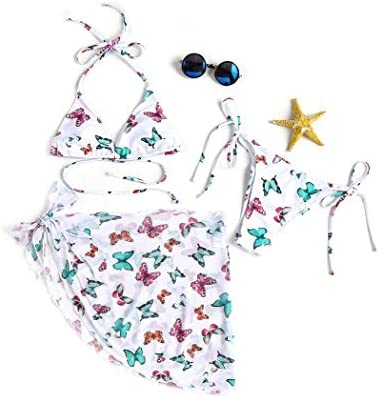 Ekouaer Women s Sexy Tie Back Bikini Set Two Piece Swimsuit with Sarong Cover Up Butterfly Small product image