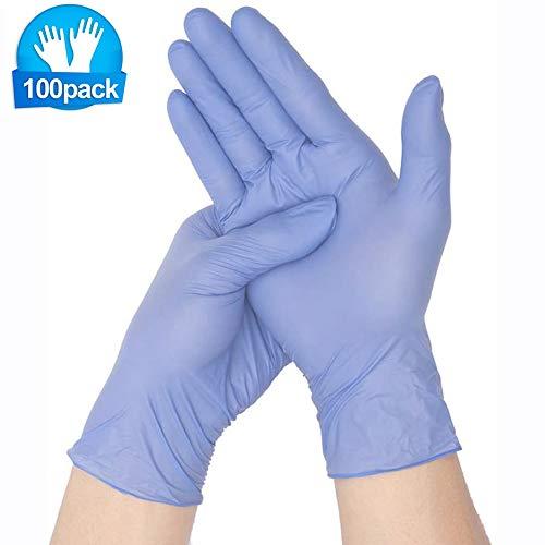 Guantes desechables para niños de 100 piezas, guantes desechables elásticos de goma natural, guantes de nitrilo sin látex sin polvo para manualidades, pintura, jardinería, limpieza, cocina (XS)