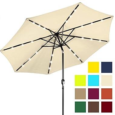 Best Choice Products 10ft Solar LED Lighted Patio Umbrella w/Tilt Adjustment - Light Beige