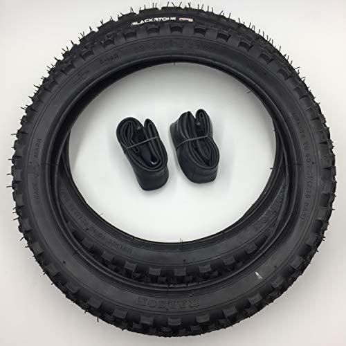 Blackstone 2x16 Zoll MTB Reifen + AV Schlauch 16x1.95 | ETRTO 52-305 Decke Mantel mit 1mm Pannenschutz