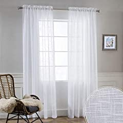 "PACKAGE INCLUDES - 2 panels per package and each panel measures 52 inches width ( total width 104 inches ). Dual Rod Pockets Design with 2.8"" inner diamter fits most of the curtain rods. LINEN TEXTURED - Soild curtains with subtle linen design are mo..."
