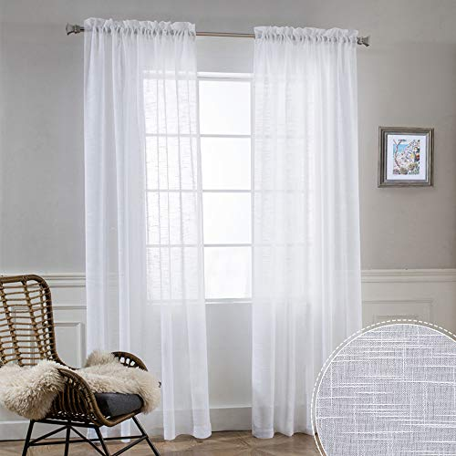 White Sheer Curtains for Living Room - Privacy Linen Fabric Curtains Semitransparent Farmhouse Country Curtains Light & Airy for Patio Door Bedroom Summer Decor, W 52 x L 90 inch, 2 Panels