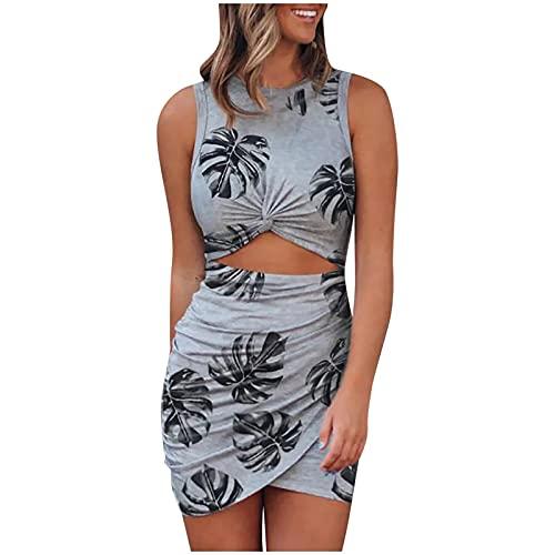 AFFGEQA Damen Schlank Kleid Rundhals Wickelkleid für Damen Modedruck Ärmelloses Sexy Enges Freizeit Elegant Sommerkleid Nabel Blumenkleid Kleid