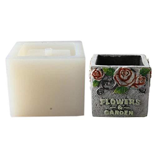 UIXIYIMG Rose De Style Européen Ciment Béton Pot De Fleur en Silicone Moule Décoration Vintage Industriel Manuel DIY Moule, carré