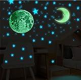 104 Piezas Luminoso Pegatinas de Pared Luna + Estrellas, Pegatinas Fluorescentes Adhesivos Decoración de Pared para la Habitación de los Niños. (104 Piezas)
