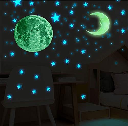 Adesivi Fluorescenti 104 Pezzi Luna + Stelle, Decorazioni Stickers Luna Stelline Luminose, Adesivo da parete per Soffitto/Cameretta Bambini.