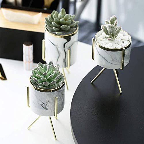 Keyzone Blumentopf mit Metallständer aus Marmor Keramik Pflanzenständer für Sukkulenten Kaktus Nordischer Stil zu Hause im Garten Büro 1 Stück (Gold-L)