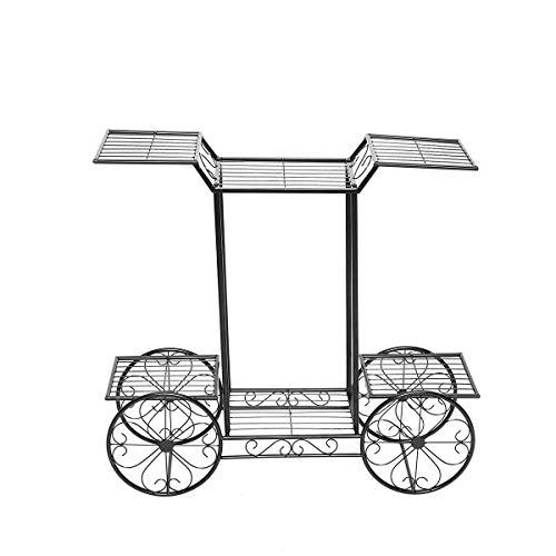 xingxing Storage & Organization - Soporte de metal para plantas, maceta de jardín, estante de exhibición para bicicletas al aire libre, interior (color: negro)