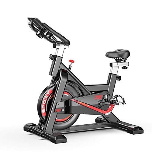 MLKE Bicicleta de ejercicio, bicicleta de ciclismo, de interior, 330 libras, cierre magnético para la casa, cardio Workout Heavy Belywheel y cómodo cojín de asiento negro