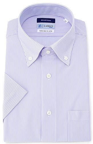 [アイシャツ] i-shirt 完全ノーアイロン ストレッチ 超速乾 レギュラーフィット 半袖 アイシャツ ワイシャツ メンズ サックス 半袖ボタンダウン ストライプ M16220000981 日本 M(首回り39cm) (日本サイズM相当)