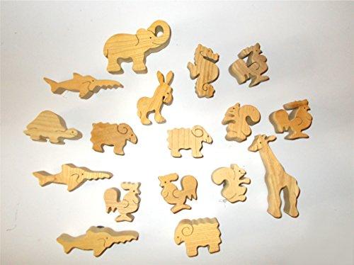 17er Set Madera Animales magnético–dekomagnete de madera, animales Imanes, regalo Idea, madera Imanes, DIY Madera figuras para pintar, material de manualidades, cocina, magnético
