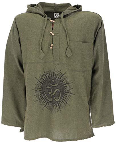 Guru-Shop Yoga Hemd, Goa Hemd Om, Sweatshirt, Herren, Olive/schwarz, Baumwolle, Size:XL, Hemden Alternative Bekleidung