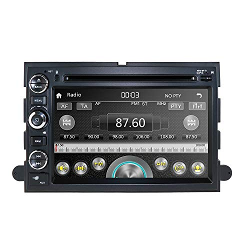 Car Navigation Radio Fit for Ford F150 F250 F350 Edge Fusion Mustang in Dash DVD Player GPS Stereo Radio BT Steering Wheel Control Support DVR DTV OBD2 TPMS + 8GB Map Card