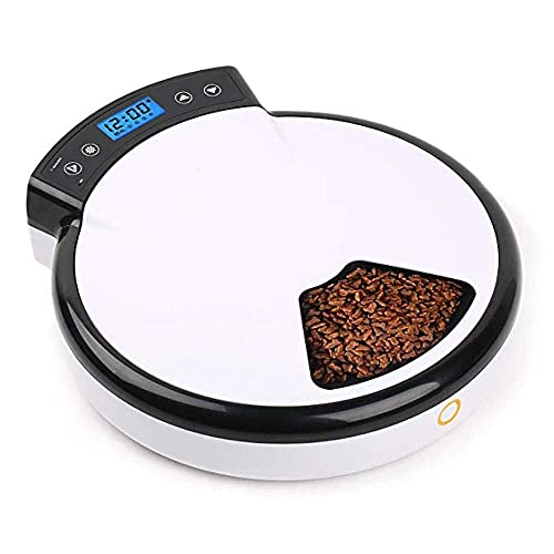 JHTD Automatic Pet Feeder, 5 Meal Trays Dry Wet Food, Automatic Dog & Cat Feeder with Programmable Timer