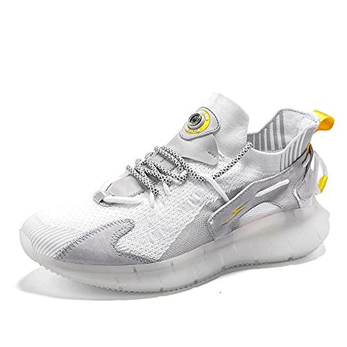 BAIDEFENG Zapatillas de Moda con Personalidad,Zapatillas de Malla con Plataforma, Zapatillas de Tenis Antideslizantes Que absorben los Golpes-White_44