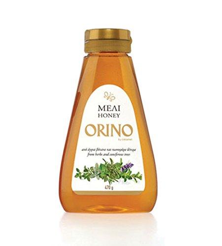 Außergewöhnlicher Honig von Kräutern & Nadelbäumen ORINO 470g Squeeze Quetsch Tube Flasche mild herb süßes Aroma griechischer kretischer Bienehonig Kreta Griechenland