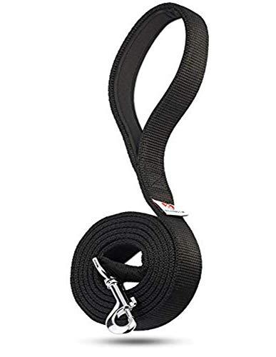 Dutchy Brand Pets Lovers Club Black Dog Leash - Sturdy Nylon Strap - Padded Handle - 6 Feet Long by 1 Inch Wide