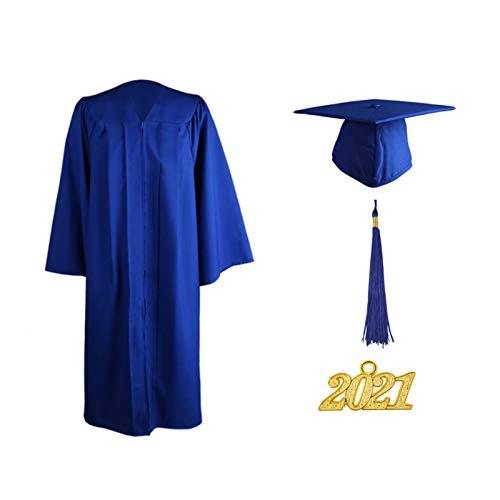 Beesuya Juego de borlas de Gorra de graduación Mate 2021 Unisex Adulto licenciatura Ceremonia de Secundaria Traje de Borla Negro Batas de Coro para Estudiantes Profesores universitarios o graduados