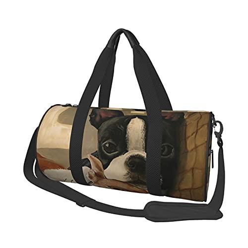 MBNGDDS Bolsa de viaje Boston Terrier, ligera, plegable, impermeable, con correa para el hombro, bolsa de deporte para hombres y mujeres
