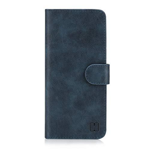 32nd Essential Series - PU Leder Mappen Hülle Flip Hülle Cover für Samsung Galaxy S10e, Ledertasche hüllen mit Magnetverschluss & Kartensteckplatz - Navy Blau