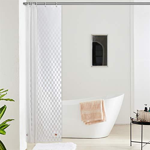 Furlinic Duschvorhang Schmal für Eck Dusche Kleine Badewanne Eva 3D Effekt Badvorhang Schimmelresistent Wasserdicht 100x200 Rechteck mit 6 Duschvorhangringen Saum mit Steinen.