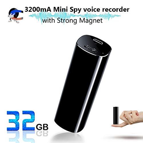 Mini Spionage Diktiergerät, 32GB Professionelles Aufnahmegerät, 3200 mA, 500 Std Betriebszeit, Standby 365 Tage, Stimmenaktivierung/Eingebauter starker Magnet/OTG/MP3 Player/One-Touch Aufnahme