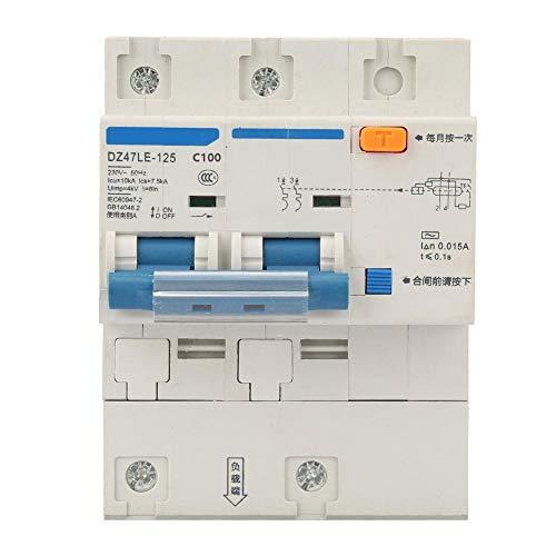 Interruptor de circuito de 230V 80/100 / 125A, interruptor de protección de fuga DZ47LE-125 Interruptor de circuito de corriente de 2P(C100A)