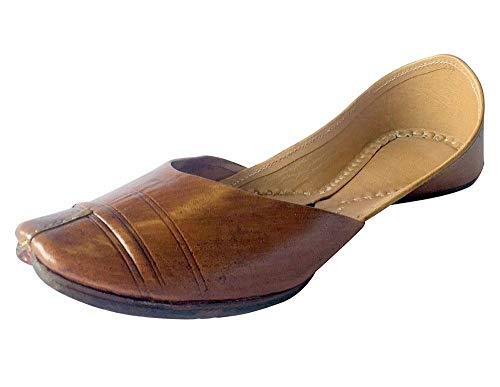Step n Style Mojari Juti Khussa Leder-Flip-Flops für Damen, traditionell, handgefertigt, Braun (braun), 38 EU