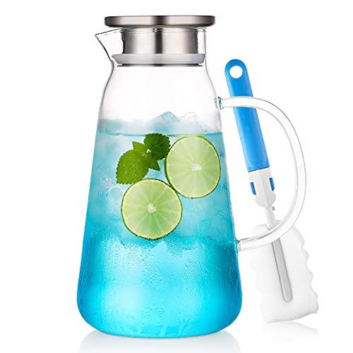 ZDZDZ - Brocca grande in vetro con coperchio e manico – 2 l in vetro per acqua caraffa, brocca per tè freddo caldo succo di tè, latte e caffè