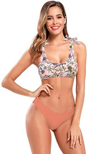 SHEKINI Mujer Bikinis Conjuntos Traje de Baño Split para Mujer Traje de Baño Chaleco Bañador Estampado Anudado con Tirantes (L, Rosa)