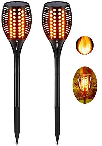 TaoTronics Garten Fackeln 2 Stück Solarleuchte, Solar Garten Licht Gartenleuchten Solar Fackel Solarlampen für Außen, mit realistischen Flammen und IP65 wasserdicht
