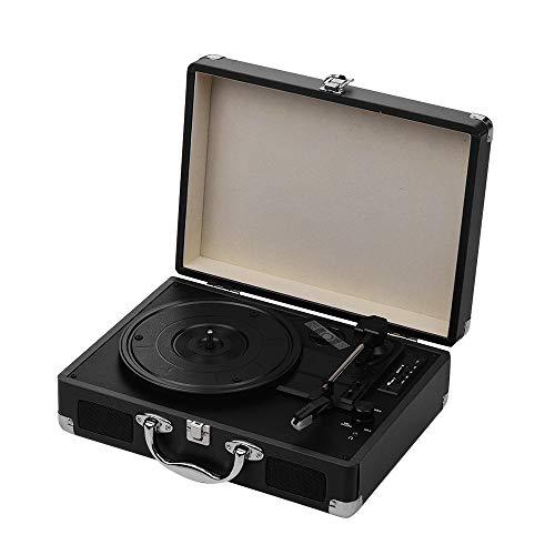 Tocadiscos portátil Tocadiscos Classic Suitcase Style 3 velocidades Tocadiscos con altavoces estéreo Puerto USB Ranura para tarjeta de memoria Soporte BT Reproductor MP3 / WMA Versión mejorada