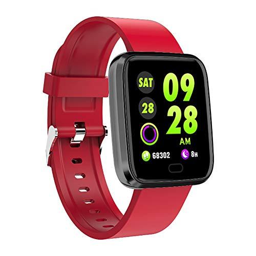 LIAO Intelligente Orologi, Smartwatches, modalità Multiple di Sport, frequenza cardiaca & Sleep monitoraggio, Call & Info sincronizzazione, per Il Fitness, Sport, Vita Sana,Rosso