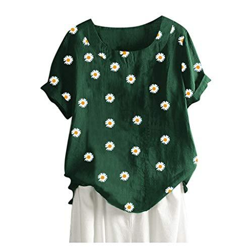Kanpola Damen Kurzarm T-Shirt Sommer Oversize Shirt Mit Blumenmuster Casual Rundhals Bluse Locker Bequem Oberteile Top