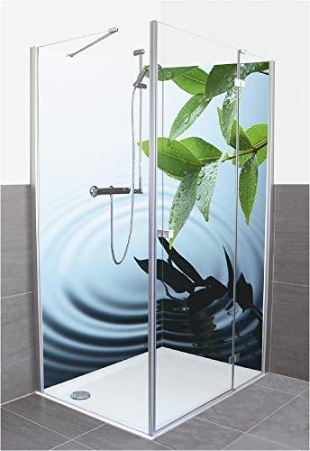 Artland Duschrückwand Eck mit Motiv Fliesenersatz Alu Rückwand Dusche Duschwand Bad 2 Segmente Wunschmaß Natur Wellness Zen Wasser Pflanze T5VV
