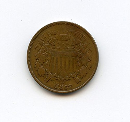 1867 No Mint Mark Two Cent Piece Circulated Civil War Era Coin Two-Cent Seller Good