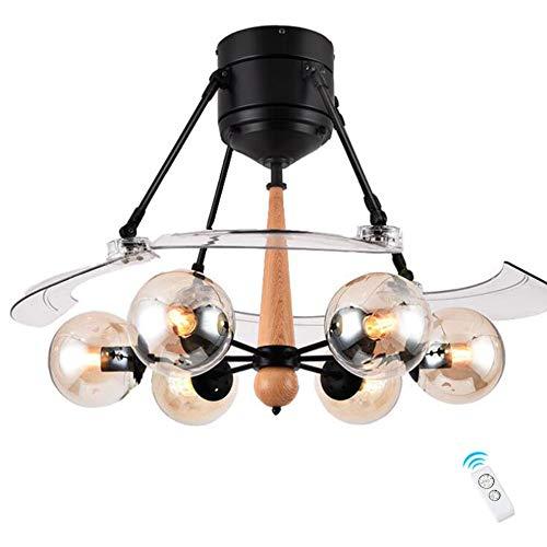 Ventilador de techo con iluminación, 126 cm, moderna, invisible, de madera, cubierta marrón, E27 x 6, Fernbedienung