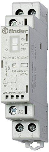 Finder 223202304340PAS Installationsschütze, modular, 230VAC/DC, 2 Schließer, Öffner, 25A, Kontaktmaterial: AgSnO2, mechanische Anzeige, LED-Anzeige, mit Schalter