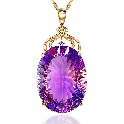AchidistviQ-Fashion Women Hollow Crown Großes Oval Faux Quarz Lange Halskette Schmuck
